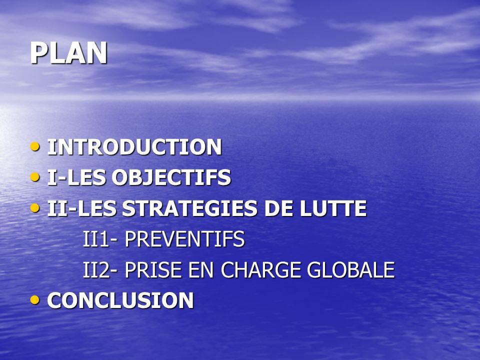 PLAN INTRODUCTION I-LES OBJECTIFS II-LES STRATEGIES DE LUTTE