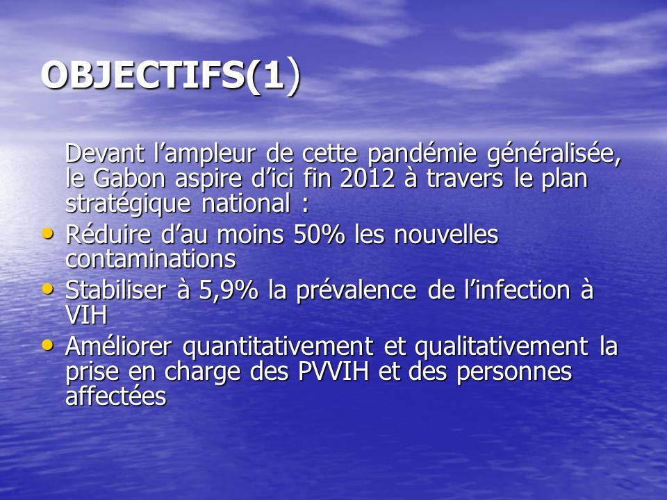 OBJECTIFS(1) Devant l'ampleur de cette pandémie généralisée, le Gabon aspire d'ici fin 2012 à travers le plan stratégique national :