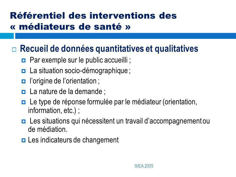 Référentiel des interventions des « médiateurs de santé »