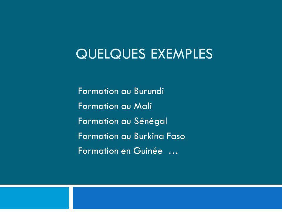 Quelques exemples Formation au Burundi Formation au Mali