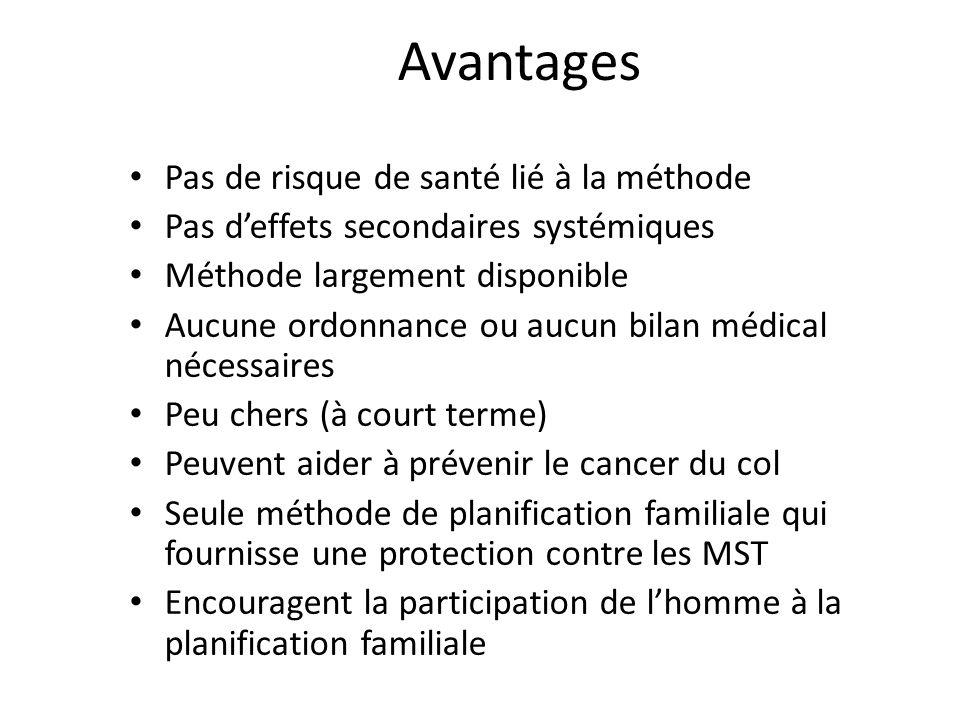 Avantages Pas de risque de santé lié à la méthode
