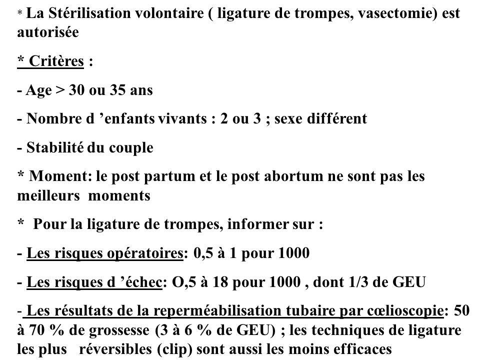 - Nombre d 'enfants vivants : 2 ou 3 ; sexe différent