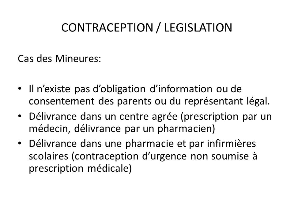CONTRACEPTION / LEGISLATION