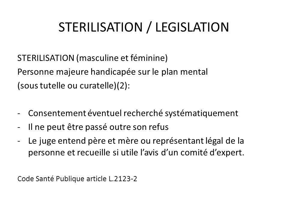 STERILISATION / LEGISLATION