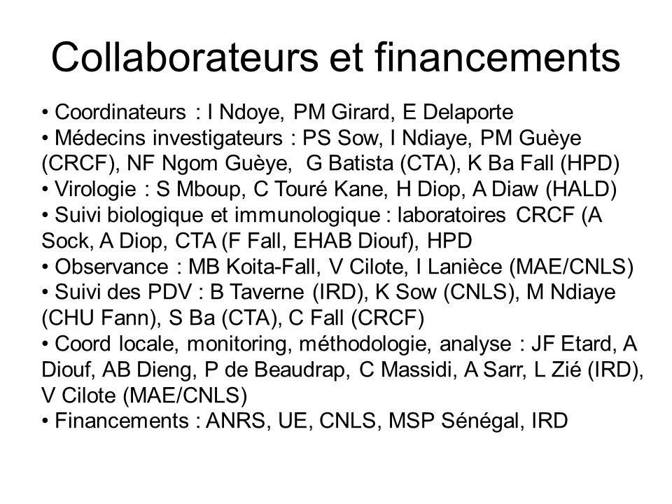 Collaborateurs et financements