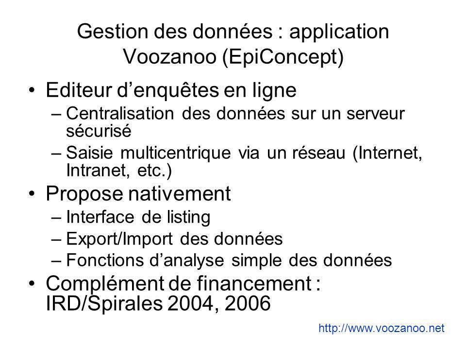 Gestion des données : application Voozanoo (EpiConcept)