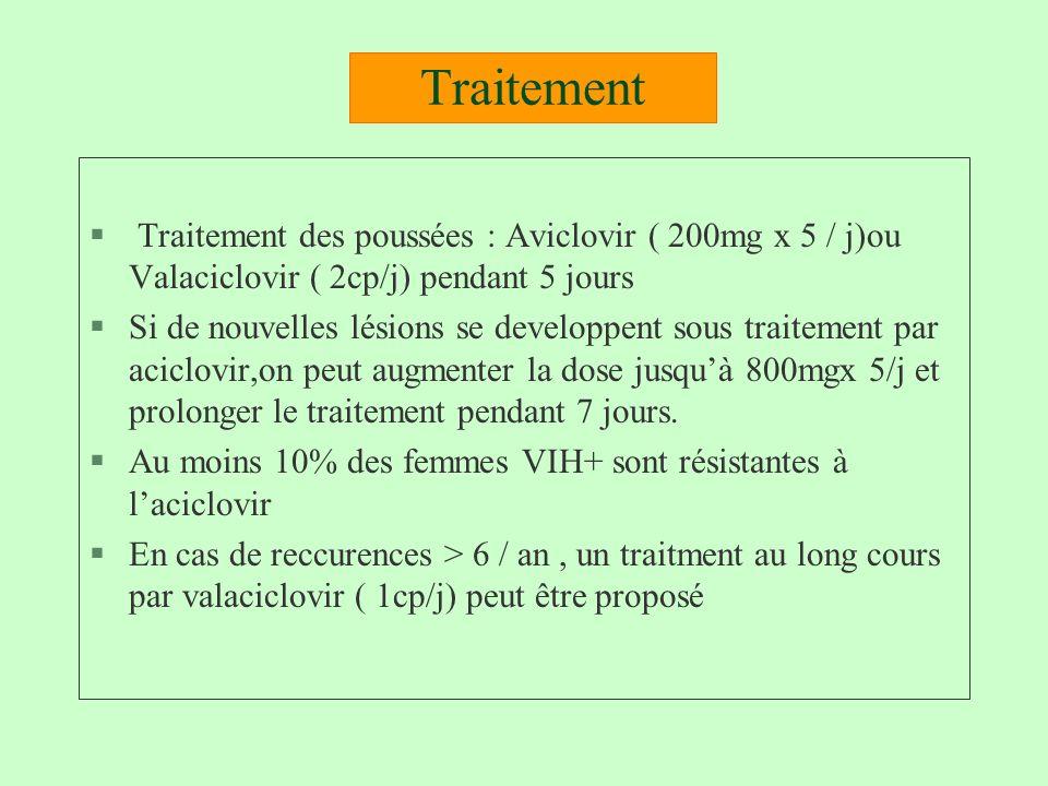 Traitement Traitement des poussées : Aviclovir ( 200mg x 5 / j)ou Valaciclovir ( 2cp/j) pendant 5 jours.
