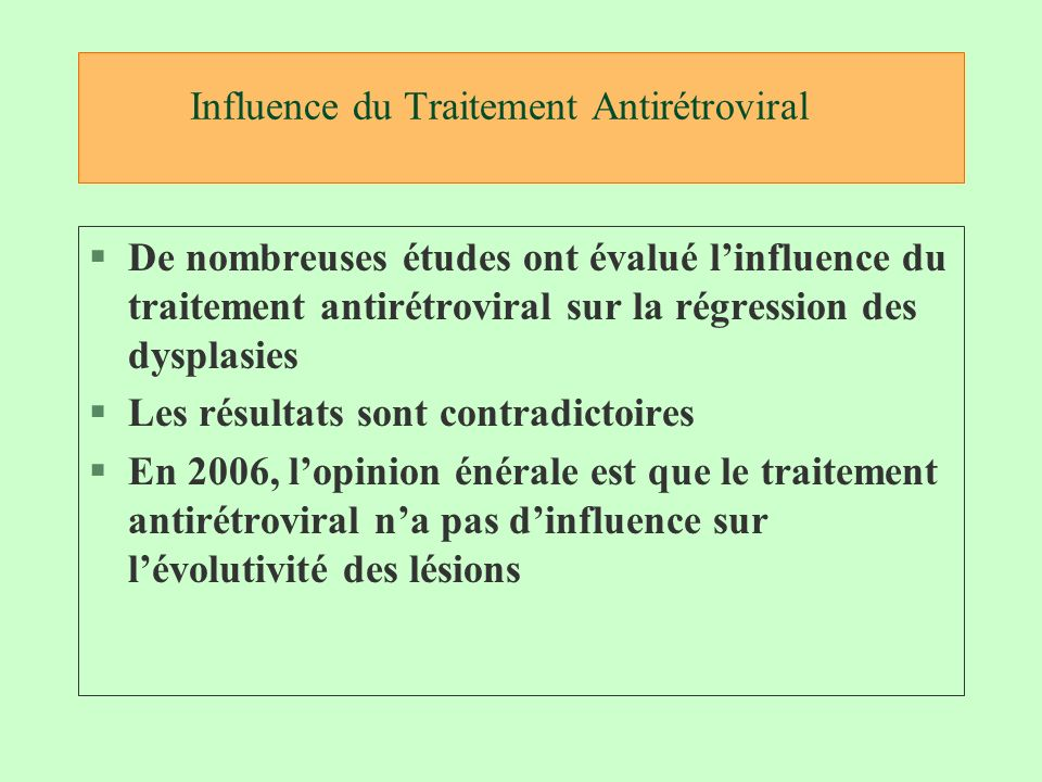 Influence du Traitement Antirétroviral