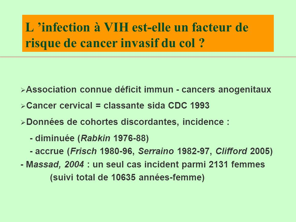 L 'infection à VIH est-elle un facteur de risque de cancer invasif du col