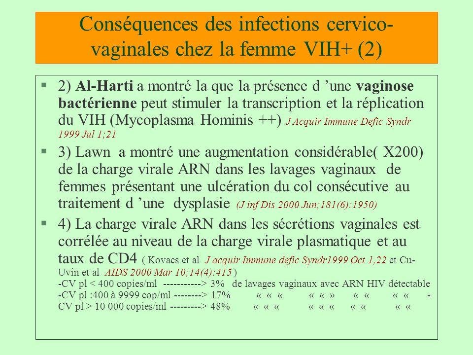 Conséquences des infections cervico-vaginales chez la femme VIH+ (2)