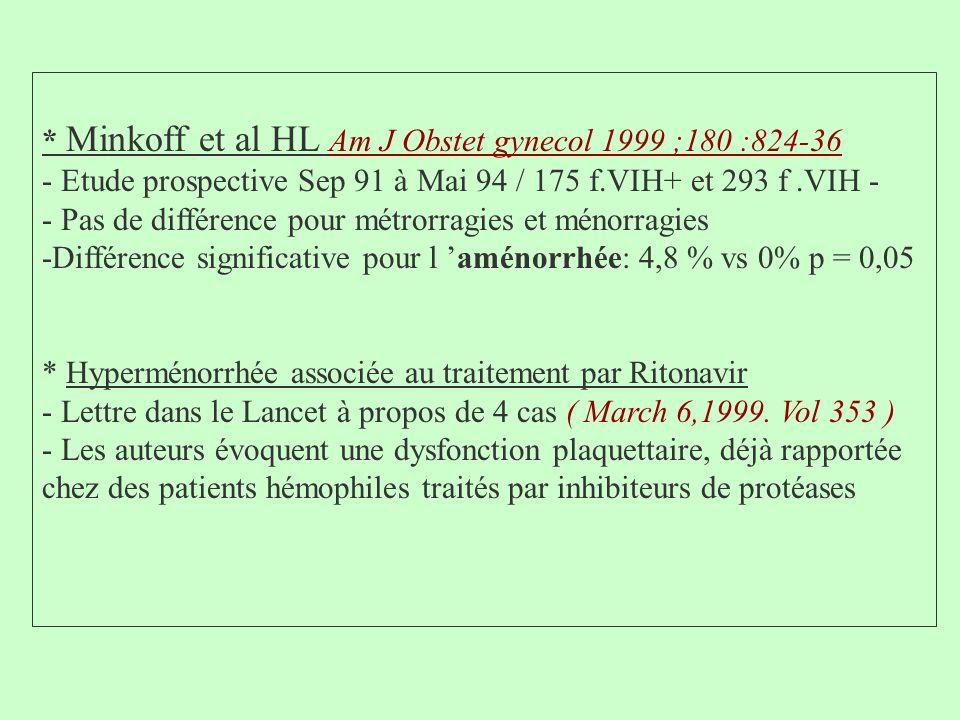 * Minkoff et al HL Am J Obstet gynecol 1999 ;180 :824-36
