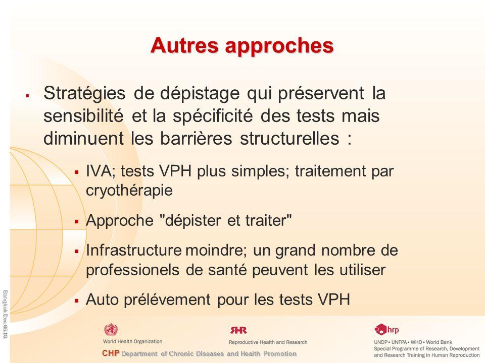 Autres approches Stratégies de dépistage qui préservent la sensibilité et la spécificité des tests mais diminuent les barrières structurelles :