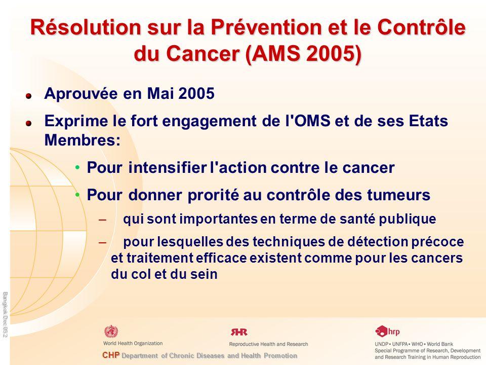 Résolution sur la Prévention et le Contrôle du Cancer (AMS 2005)