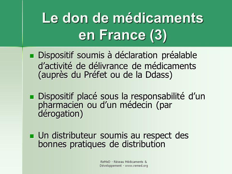 Le don de médicaments en France (3)