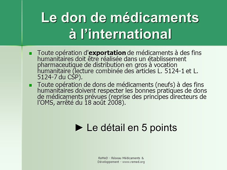 Le don de médicaments à l'international