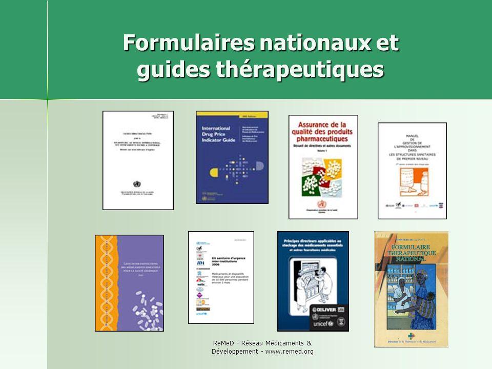 Formulaires nationaux et guides thérapeutiques