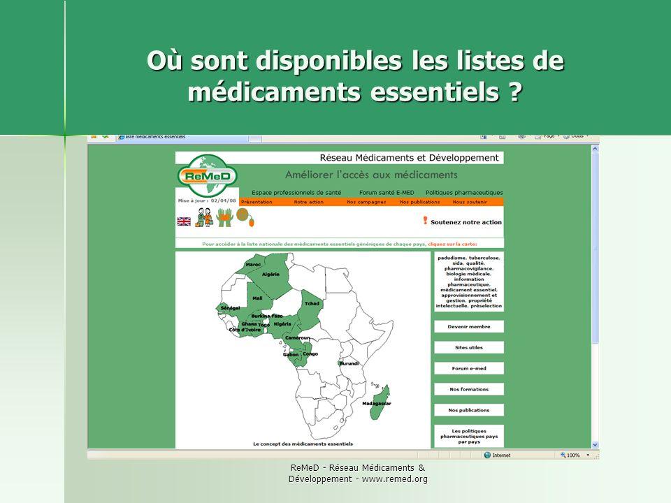 Où sont disponibles les listes de médicaments essentiels