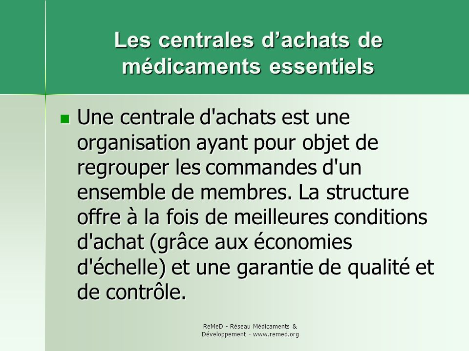 Les centrales d'achats de médicaments essentiels