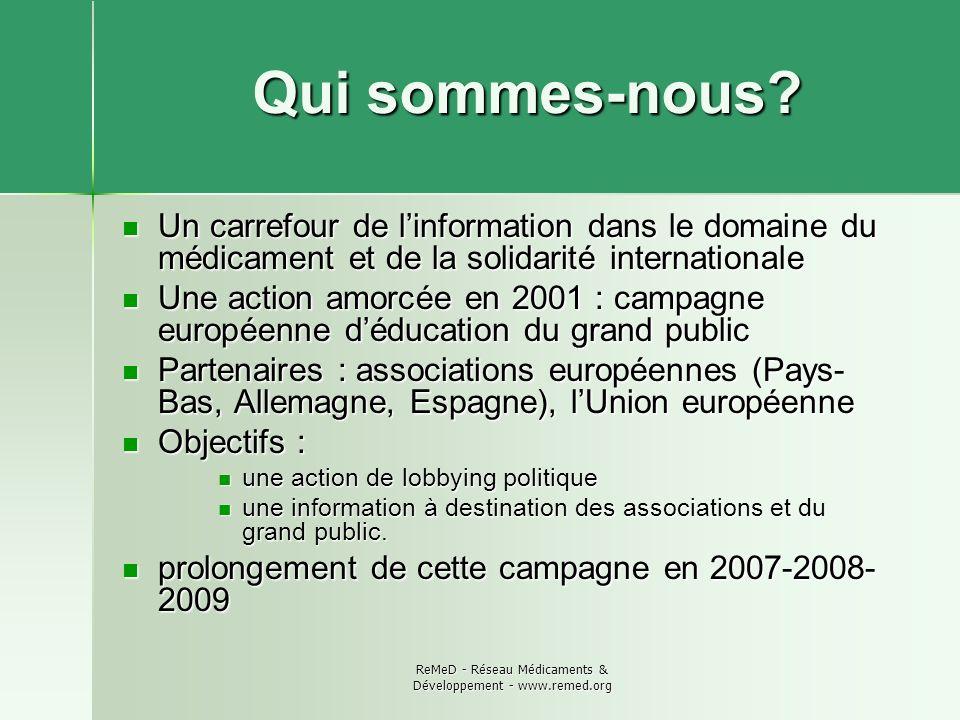 ReMeD - Réseau Médicaments & Développement - www.remed.org