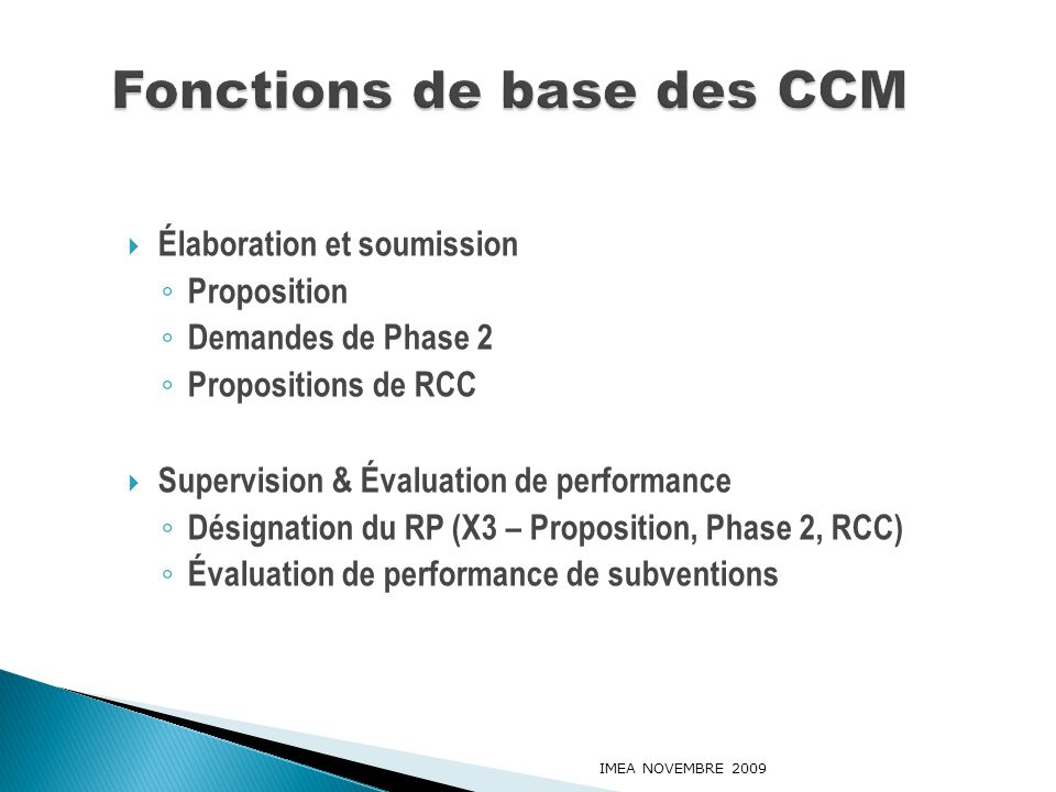 Fonctions de base des CCM