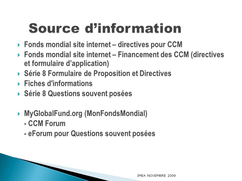 Source d'information Fonds mondial site internet – directives pour CCM