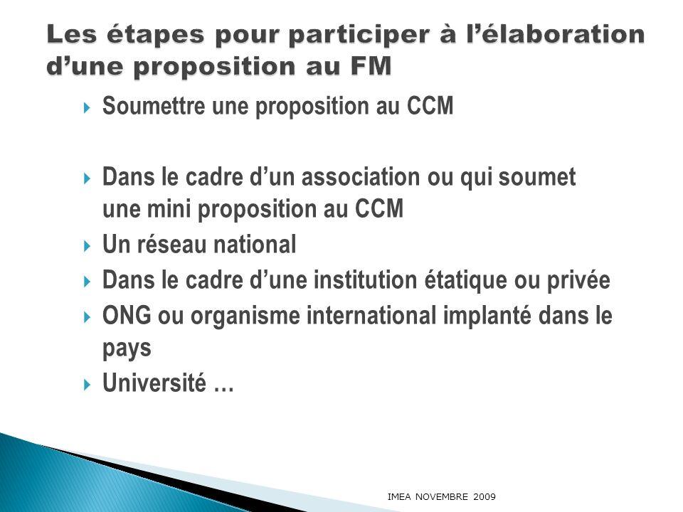 Les étapes pour participer à l'élaboration d'une proposition au FM