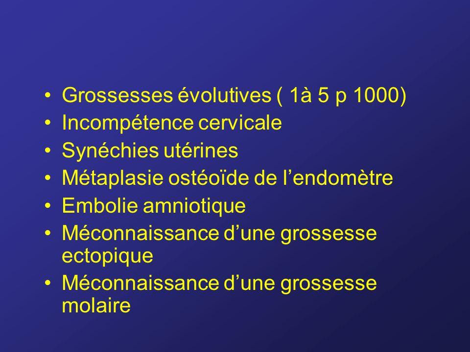 Grossesses évolutives ( 1à 5 p 1000)