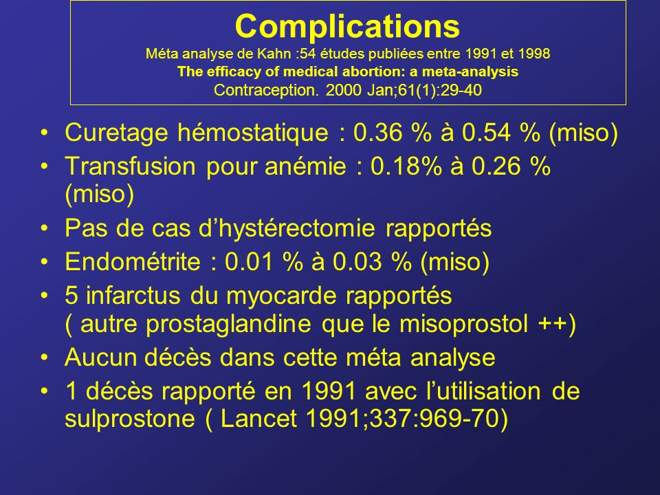 Complications Méta analyse de Kahn :54 études publiées entre 1991 et 1998 The efficacy of medical abortion: a meta-analysis Contraception. 2000 Jan;61(1):29-40