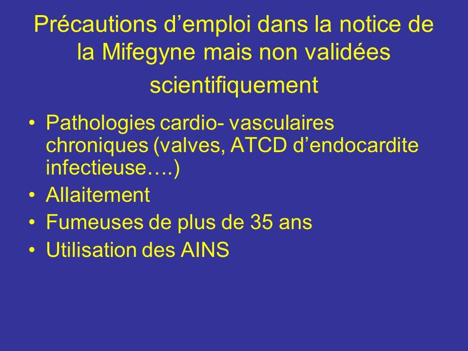 Précautions d'emploi dans la notice de la Mifegyne mais non validées scientifiquement
