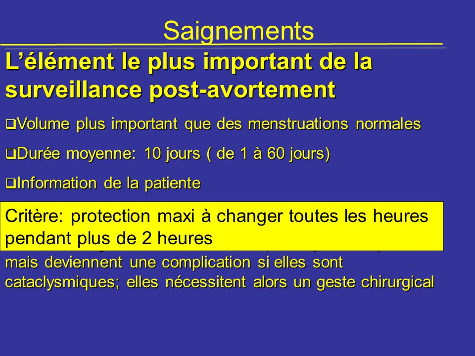 Saignements L'élément le plus important de la surveillance post-avortement. Volume plus important que des menstruations normales.