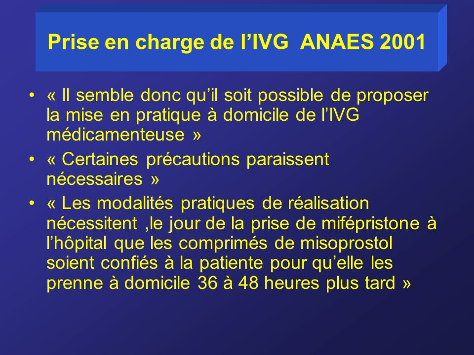 Prise en charge de l'IVG ANAES 2001