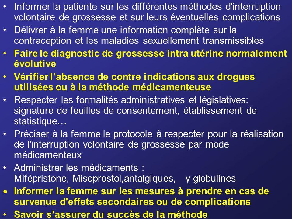 Informer la patiente sur les différentes méthodes d interruption volontaire de grossesse et sur leurs éventuelles complications
