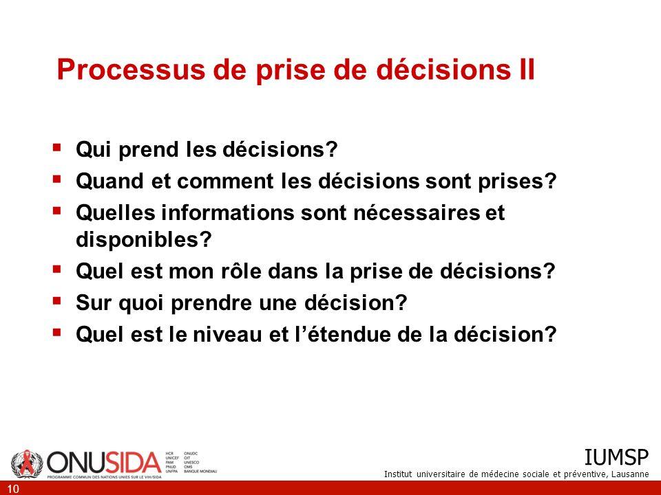 Processus de prise de décisions II