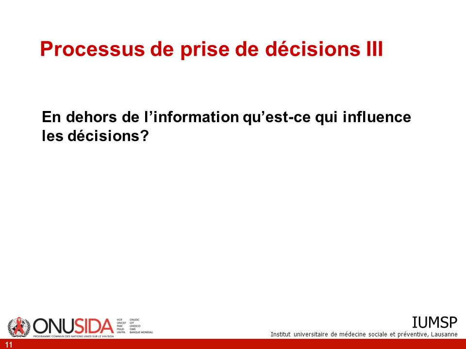 Processus de prise de décisions III