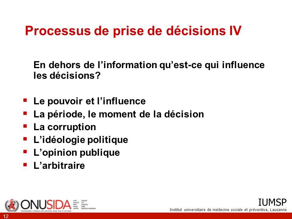 Processus de prise de décisions IV