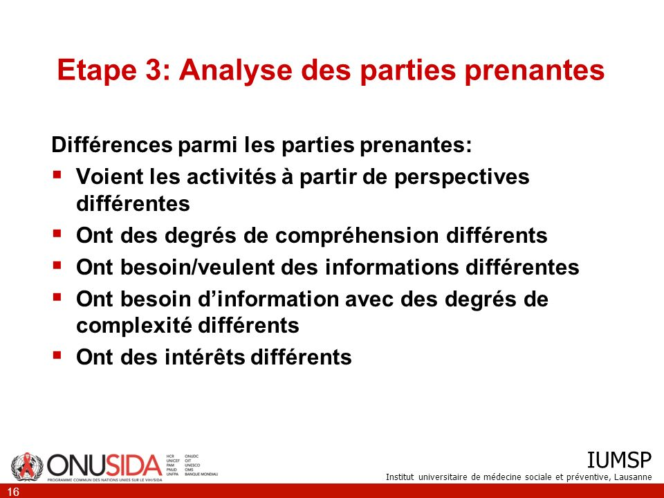 Etape 3: Analyse des parties prenantes