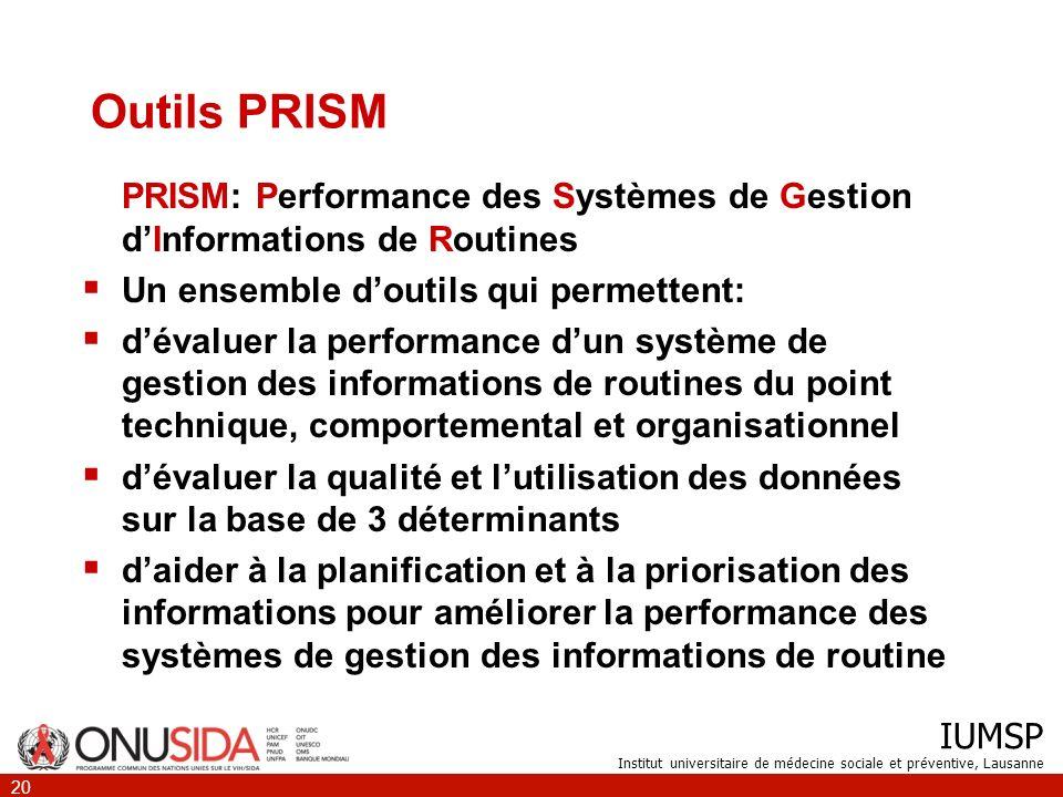 Outils PRISM PRISM: Performance des Systèmes de Gestion d'Informations de Routines. Un ensemble d'outils qui permettent: