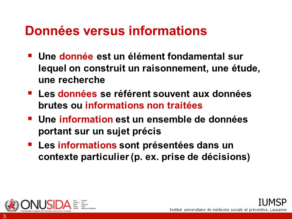 Données versus informations