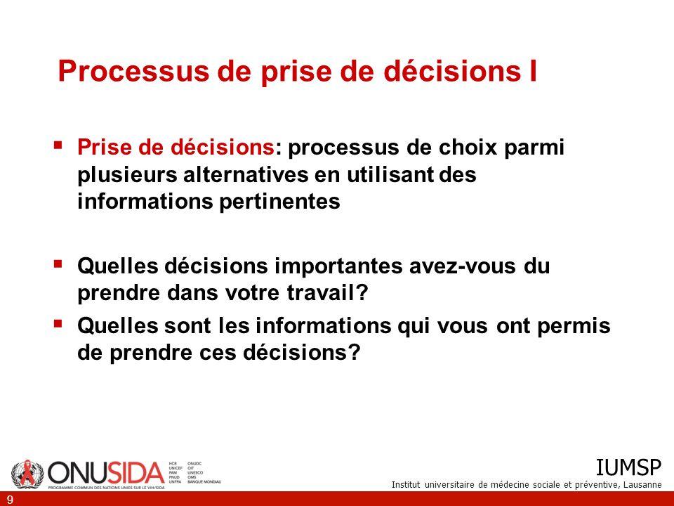 Processus de prise de décisions I