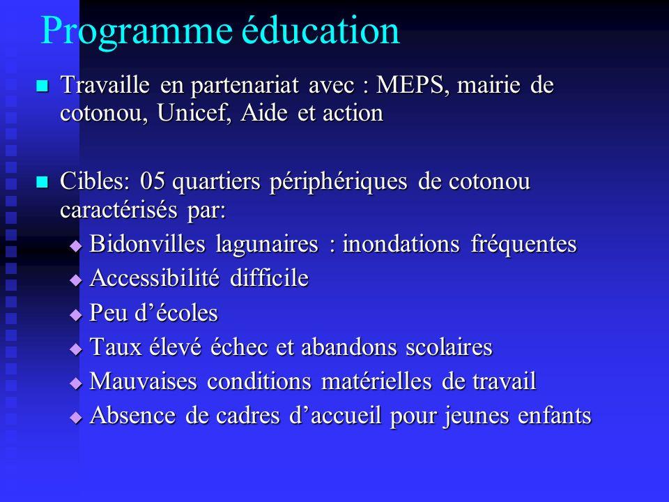 Programme éducation Travaille en partenariat avec : MEPS, mairie de cotonou, Unicef, Aide et action.
