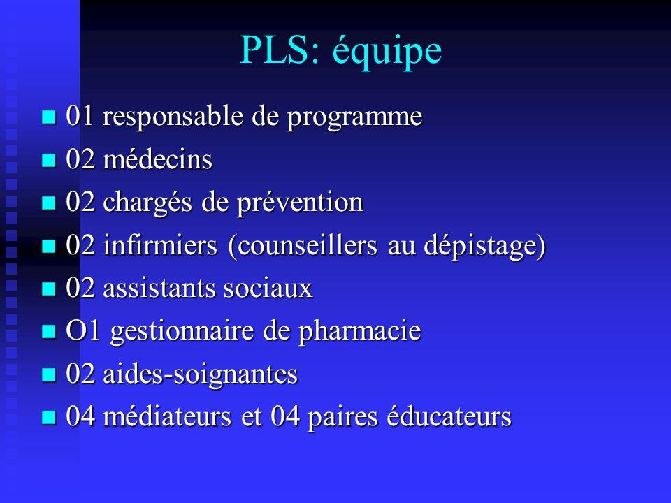 PLS: équipe 01 responsable de programme 02 médecins