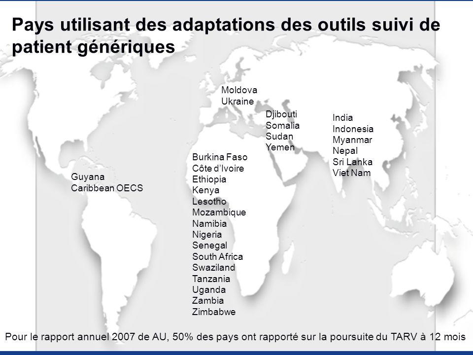 Pays utilisant des adaptations des outils suivi de patient génériques