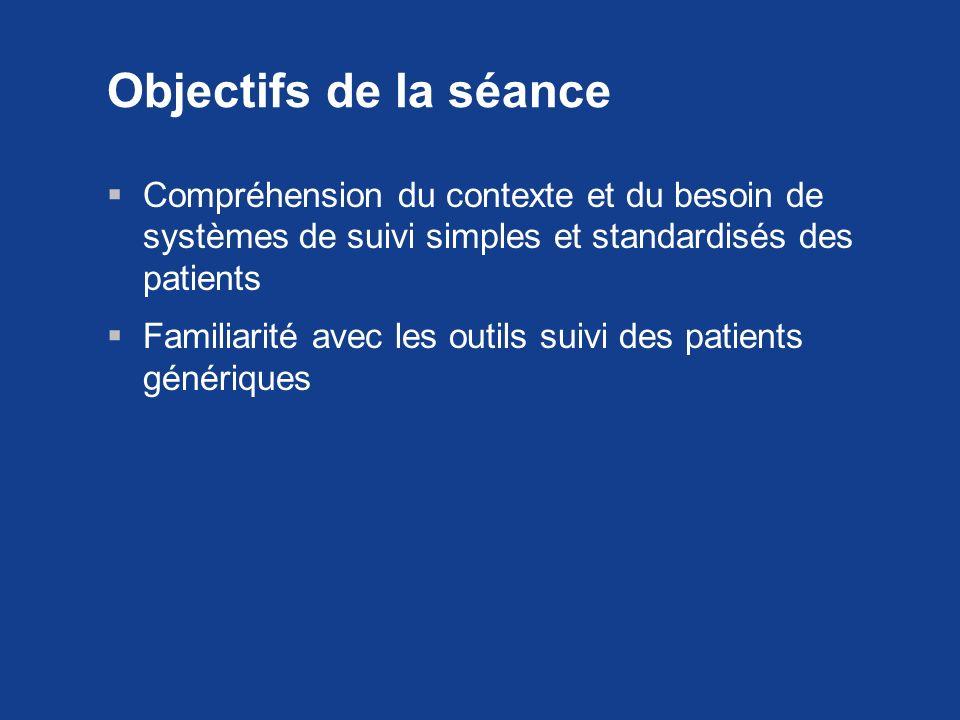 Objectifs de la séance Compréhension du contexte et du besoin de systèmes de suivi simples et standardisés des patients.
