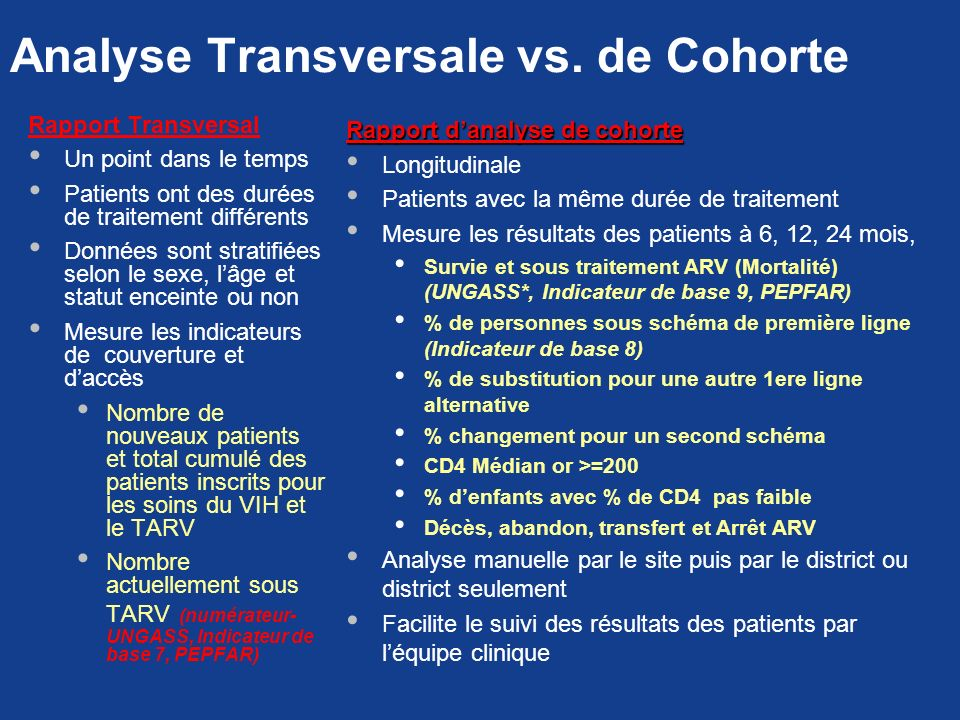 Analyse Transversale vs. de Cohorte
