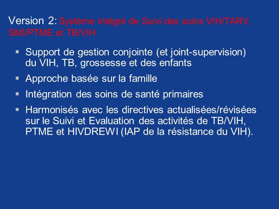 Version 2: Système intégré de Suivi des soins VIH/TARV, SMI/PTME et TB/VIH
