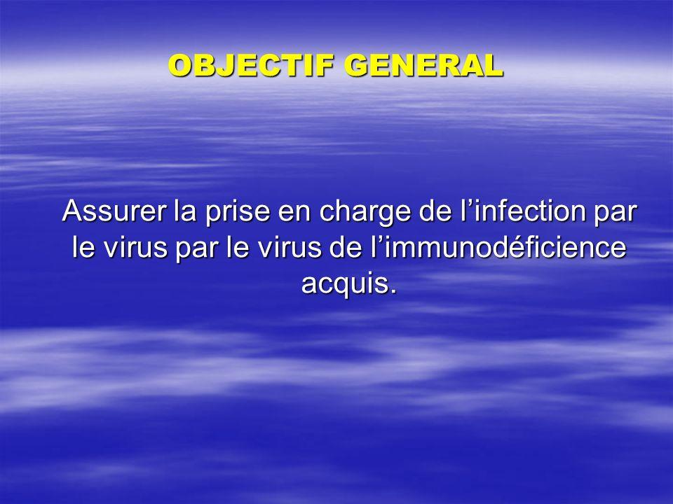 OBJECTIF GENERAL Assurer la prise en charge de l'infection par le virus par le virus de l'immunodéficience acquis.
