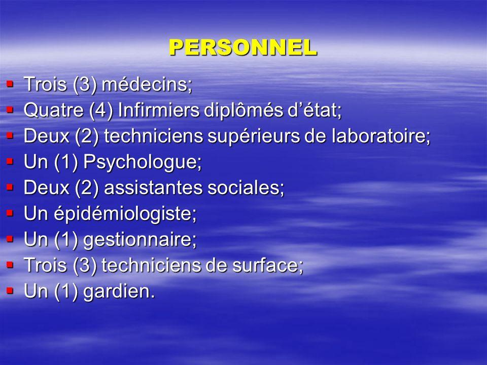 PERSONNEL Trois (3) médecins; Quatre (4) Infirmiers diplômés d'état;