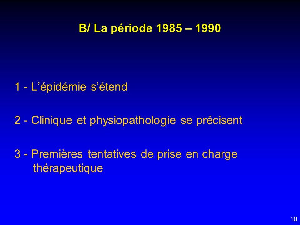 B/ La période 1985 – 1990 1 - L'épidémie s'étend. 2 - Clinique et physiopathologie se précisent.