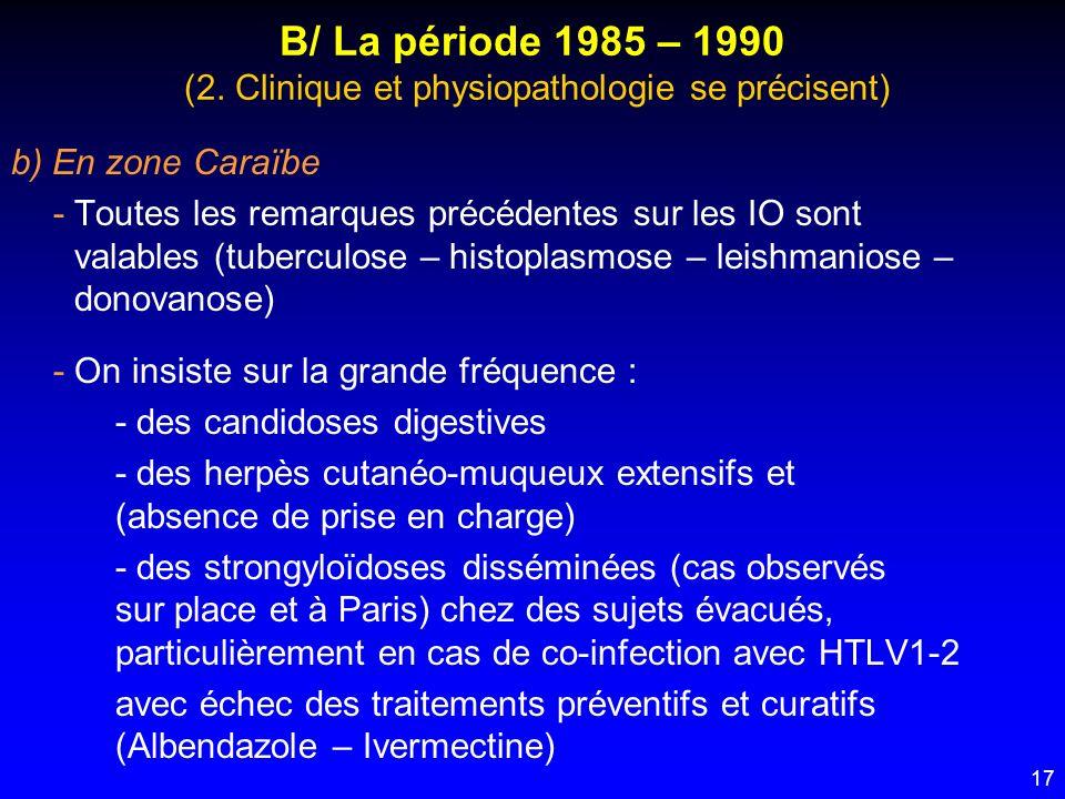 B/ La période 1985 – 1990 (2. Clinique et physiopathologie se précisent)