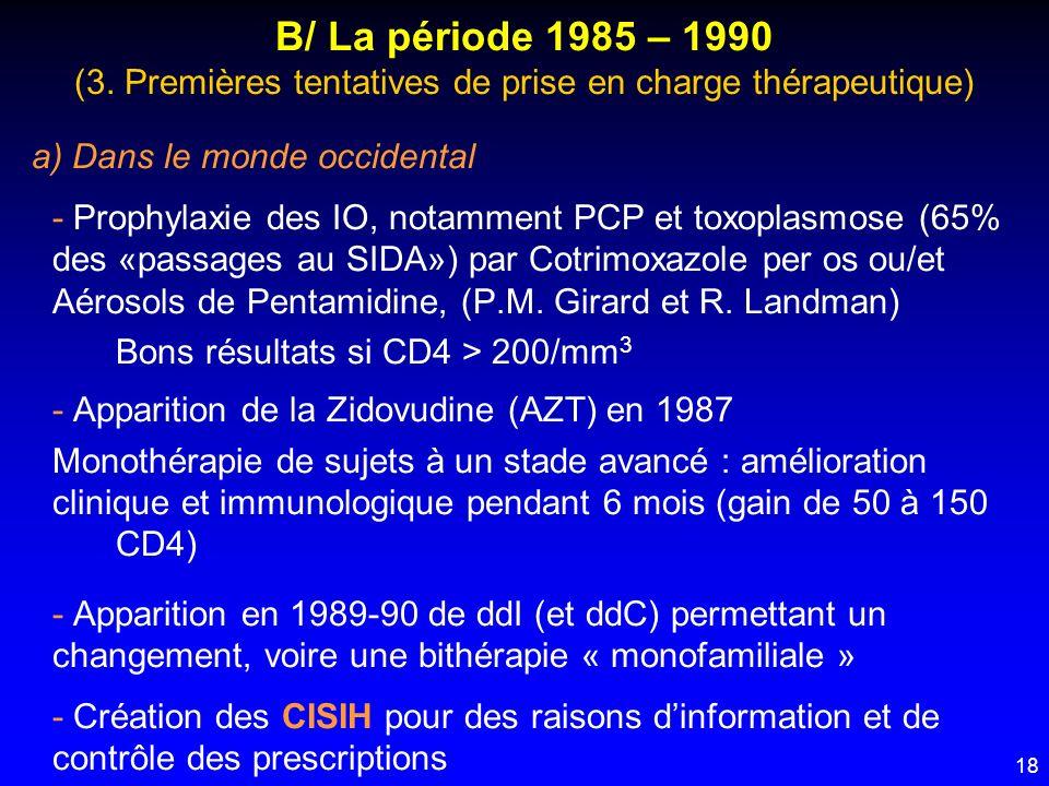 B/ La période 1985 – 1990 (3. Premières tentatives de prise en charge thérapeutique)